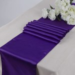 MDS 10 Wedding 12 x 108 inch Satin Table Runner Wedding Banquet Decoration- Cadbury Purple