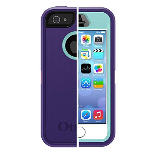Otterbox Defender Series Case With Holster Clip For Iphone 5 5s Purple Light Blue