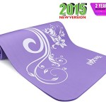 Yes4All Premium 1/2-Inch Extra Thick Exercise Printed Yoga Mat – Mystic Lilly Purple – ²YDMPZ