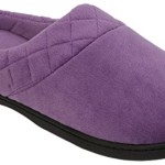 Dearfoams Womens Velour Quilted Clog Slippers Large Purple