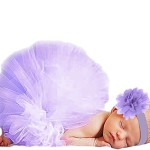 Jubileens Baby Infant Girls Photography Prop 2PCS Tutu Dress Headband Costume (Purple)