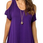 Women's Vogue Shoulder Off Wide Hem Design Top Shirt (X-Large, Purple)