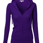 Basic Lightweight Zip Thermal Hooded Jacket Purple Size M