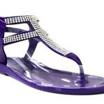 Kali Footwear Women's Clara Jelly T-strap Rhinestone Flat Gladiator Sandals 11