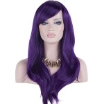 DAOTS 28″ Wig Long Heat Resistant Big Wavy Hair Women Cosplay Wig (purple)