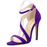 ZriEy Women's Ladies Strappy Thin High Heel Sandals Ankle Strap Cuff Peep Toe Shoes Sexy Comfortable Elegant Velvet Purple size 8.5