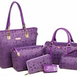 Women Tote Top Handle Shoulder Bags Satchel Purse and Handbag for Women Handbag +Crossbody+Purse+Wallet+Keychian 6 Piece Set Bags (Model 7-Purple)