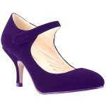 Loslandifen Ladies Mary Jane Mid Heels Casual Ankle Strap Faux Velve Work Pump Shoes(1184-2VEzi36)
