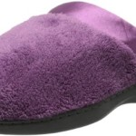 Isotoner Women's Microterry PillowStep Satin Cuff Clog Slippers, Ultraviolet,9.5/10