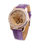 Bestpriceam® New Butterfly Diamond Watch Gold Dial Leather Band Quartz Wrist Watch Purple