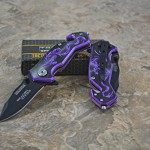 Tac-force Assisted Opening Camping Hunting Outdoor Black/purple Aluminum Handle Dragon Graphics Design A/o 3.5″ Closed Small Pocket Knife