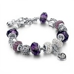 Long Way Silver Plated Snake Chain Charm Bracelets Bangles Purple Murano Glass & Crystal Beads Fit Bracelet for Women