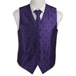 EGD1B05B-2XL Dark Violet Black Paisley Microfiber Dress Tuxedo Vest Neck Tie Set Inspirational For Dress By Epoint