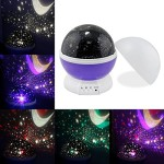 Sun And Star lighting Lamp 4 LED beads 360 Degree Romantic Room Rotating Cosmos Star Projector Starry Star Moon Sky Night Projector Lamp Kids Bedroom Lamp for Christmas (Purple)