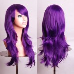 Outop 28″ Long Heat Resistant Purple Big Wavy Cosplay Wig