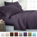 Beckham Hotel Collection® Luxury Soft Brushed Microfiber 4 Piece Bed Sheet Set Deep Pocket – Queen – Purple