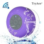 TryAce®Wireless Bluetooth Waterproof Shower Speaker Bluetooth 3.0 Car Handsfree Speakerphone built in Mic Control Buttons and Dedicated Suction Cup for Showers, Bathroom, Pool, Boat, Car, Beach, & Outdoor Use(Purple)