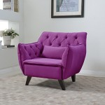 Mid Century Modern Tufted Linen Fabric Living Room Accent Chair in Colors Dark Grey, Light Grey, and Purple (Purple)