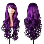 Rbenxia Curly Cosplay Wig Long Hair Heat Resistant Spiral Costume Wigs Purple 32″ 80cm