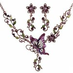 Femicuty Fashion Womens Retro Elegant Style Necklace Earring Sets(purple)