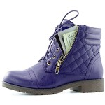 DailyShoes Women's Military Lace Up Buckle Combat Boots Ankle High Exclusive Credit Card Pocket, Purple Pu, 7