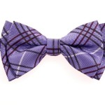 Retreez Tartan Plaid Styles Woven Microfiber Pre-tied Boy's Bow Tie – Purple – 4 – 7 years