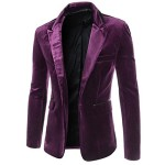 DressLoves Men's Corduroy Long Sleeve 1 Button Casual Blazers Large Purple