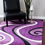 0327 Purple Black White 5'2×7'2 Area Rug Abstract Carpet