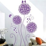 Createforlife Home Decoration Vinyl Wall Sticker Decals Mural Art Purple Butterflies and Blossoms
