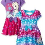 Disney Little Girls' 2 Pack Elsa Frozen Dresses, Purple, 3T