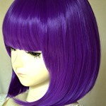 Liz Wig Gatsby 1920's Medium Long Straight Flapper Bob Heat Friendly Cosplay Party Costume Hair Wig 35cm 14″ (Violet Purple)