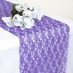 14×108″ Floral Pattern LACE TABLE RUNNER – Purple