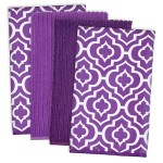 DII Cleaning, Washing, Drying, Ultra Absorbent, Lattice Microfiber Dishcloth 16×19″ (Set of 4) – Eggplant