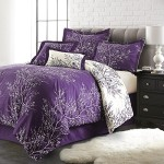 Spirit Linen Hotel 5Th Ave 6-Piece Foliage Collection Plush Reversible Comforter Set, Queen, Purple/Ivory