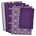 DII 100% Cotton, Machine Washable, Oversized, Everyday Kitchen Basic Dishtowel Set of 5 – Eggplant