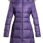 ADOMI Women's Belted Long Down Coat with Faux-Fur-Trimmed Hood Purple XL