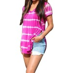 Fashion Lady Short Sleeve Striped Side Slit Stretch Colorful T-Shirt Top