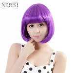Neitsi 100% Kanekalon Fiber 14″(35cm) 160g/pc Women's Girl's Cosplay Short Synthetic BOB Hair Wigs Christmas Party (Purple)