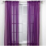 Gorgeous Home *DIFFERENT COLORS* 1 PANEL 55″ WIDE X 84″ SOILD WINDOW ROD POCKET SHEER PANELS SEE THROUGH CURTAINS (BRIGHT DARK PURPLE)