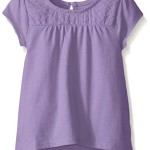 The Children's Place Toddler Girls Eyelet Detail Short Sleeve Knit Top, Lavender, 2T