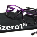 Unisex Student Cosplay Nerd Big Frame Polycarbonate Fashion Clear Lens Glasses, Purple