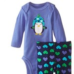 Gerber Baby-Girls Newborn 3 Piece Bodysuit Cap and Legging Set, Purple Penguin, 3-6 Months