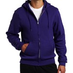Soffe Men's Training Fleece Zip Hood Sweatshirt, Purple, Small