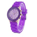 Unisex Geneva Silicone Jelly Gel Quartz Analog Sports Wrist Watch (Purple)