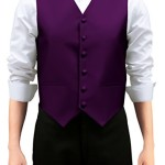 Retreez Men's Solid Color Woven Men's Suit Vest, Dress Vest Set with matching Tie and Pre-Tied Bow Tie, Gift Box Set as a Christmas Gift, Birthday Gift – Dark Purple, Medium