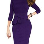 Viwenni Womens Vintage Cocktail Party Tunic Sheath Pencil work to wear Wedding Dress (Medium, Purple)
