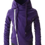 TheLees (LCJ5) Mens Casual Slim Fit Unbalanced Big Hood Cotton Jacket PURPLE US XL(Tag size 3XL)