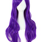 MapofBeauty 28″ 70cm Long Curly Hair Ends Costume Cosplay Wig (Purple)