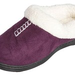 Beverly Rock Womens Stiched Faux Suade, Fleece Lined Clog Slippers (Purple) M