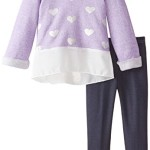 Nannette Little Girls' 2Pc Fashion Knit Pant Set with French Terry Top, Purple, 6